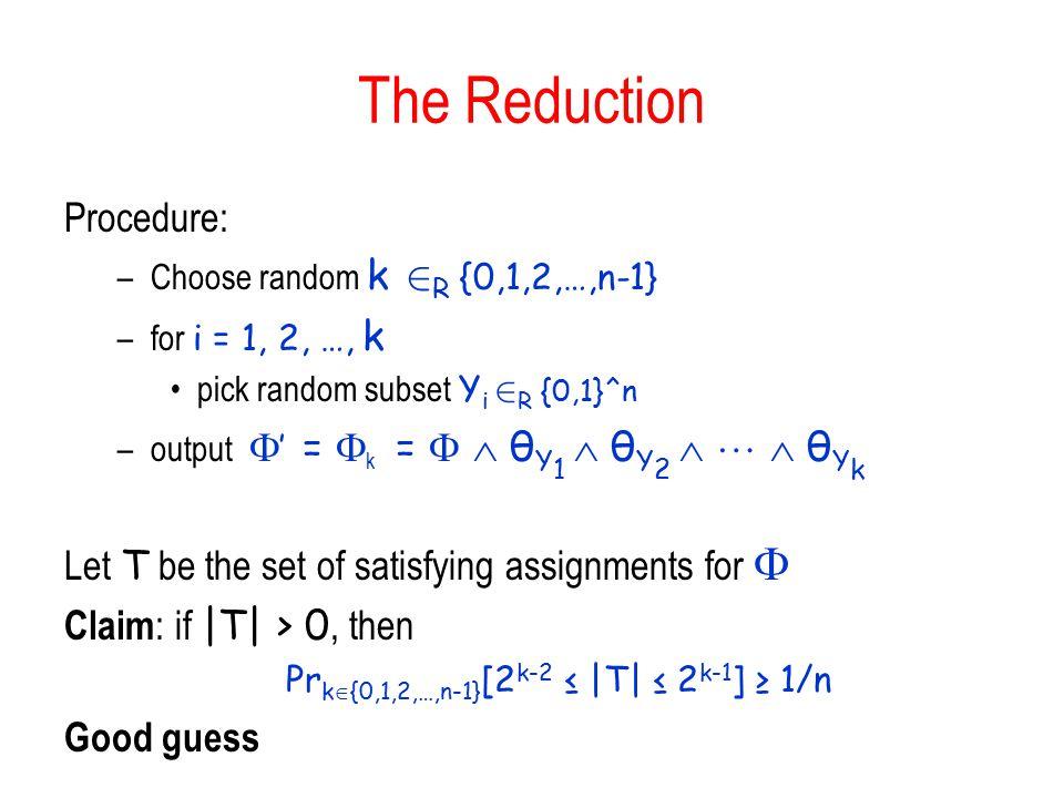 Prk{0,1,2,…,n-1}[2k-2 ≤ |T| ≤ 2k-1] ≥ 1/n